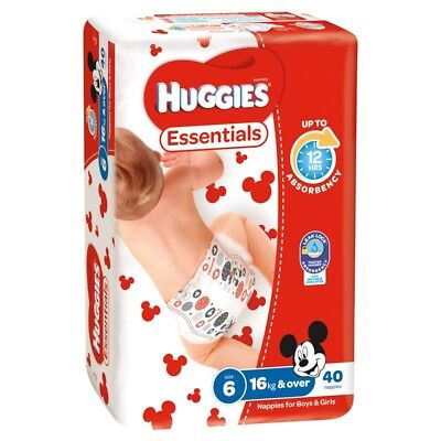Huggies Essential Nappies - Junior - Size 6 - 40 Pack