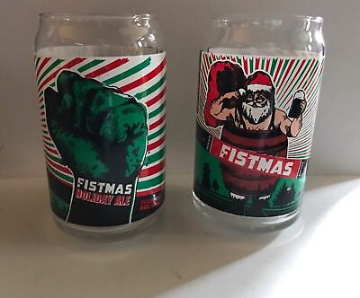 REVOLUTION BREWING~Chicago, IL Set Of 2 Fistmas Beer Can Glass Craft Beer.