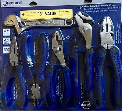 KOBALT 6 piece PLIERS needle slip channel lock linesman diagonal wire dike