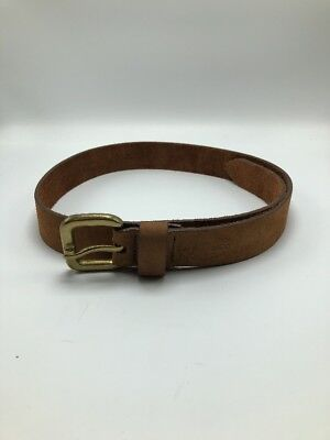 "VTG G.H. Bass & Co Brown Leather Belt Brass Buckle Mens Fits Sizes 31.5""-34.5"""