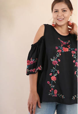 a86c456ed7e UMGEE Black Floral Embroidered Cold Shoulder Puff Sleeve Top Plus Sz XL 1XL  2XL