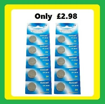 CR2016  (x 10) Long Lasting Power Eunicell 3 V Lithium button Cell Coin Battery