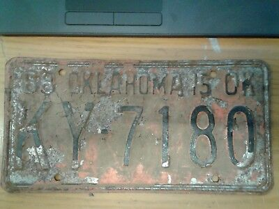 Vintage 68 License Plate KY-7180 Barn Find Rusty FAST FREE SHIPPING