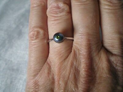 Black Freshwater Pearl ring, size N/O, 7.5 mm, 1.36 grams of 925 Sterling Silver