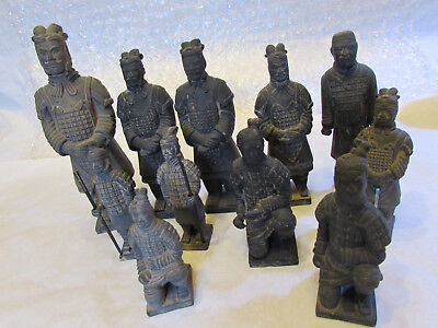 Set of 11 Chinese Terracotta Clay Warrior Soldier Figures some Stamped