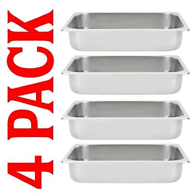 Chafing Dish Stainless Steel Chafer Pan Half Size Restaurant 4 PACK 2 1/2 Deep