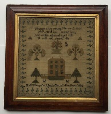 Antique Sampler - Ruth Thompson 1850 aged 11 years 17th Century Rosewood Frame