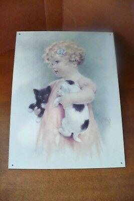 Friendly Enemies - Little Girl With Kitten & Puppy On Tin By Balliol Corporation