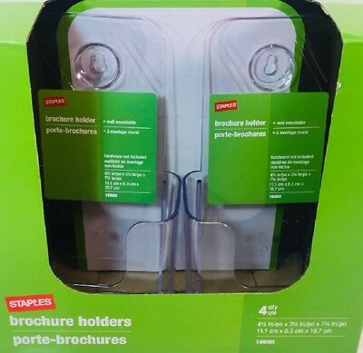 Staples Brochure Holder Desk Or Wall Mountable  Set Of 4 - NEW - Ships FREE  USA