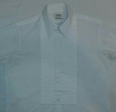 Vintage '70s Arrow RSVP DECTON Pleated Tuxedo Shirt w/French Cuffs, White,16-35