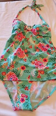 NWT Oh baby by Motherhood Maternity floral  2 piece tankini swimsuit SZ Large