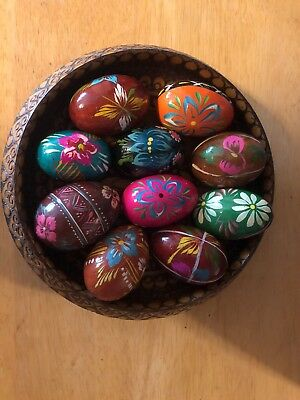 10 Authentic Wooden Easter Eggs w/Wood Dish - Pysanky - Russ/Ukranian/Polish