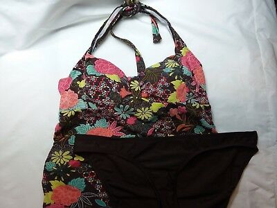 Motherhood tankini two piece size large Brown Floral halter maternity swimsuit