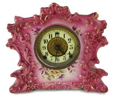 "Antique William Gilbert Clock Pink Porcelain Case # 434 with Key 11"" high"