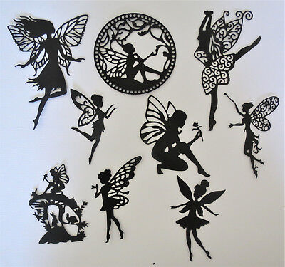 Fairies #3 Fairy Intricate Paper Die Cut Embellishments scrapbooking 9 pc Black