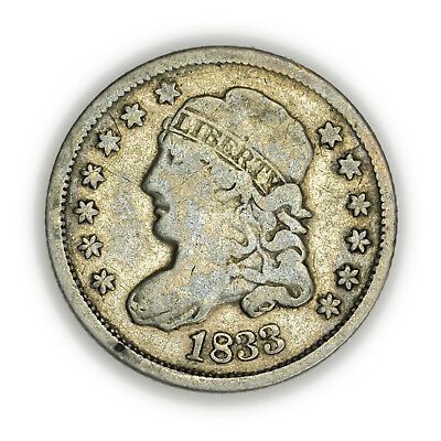 1833 Capped Bust Half Dime, Tiny, Very Nice, Early Type Silver Coin [3709.02]