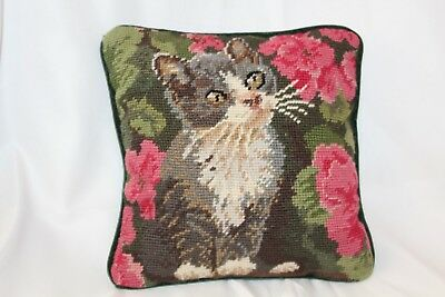 """Vintage Needle Point Cat Gray Tabby Floral Pink Garden Throw Pillow 9""""x9"""" Green"""