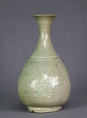 Antique Goryeo or Joseon Korean White Slip Painted Celadon Bottle Vase - Repair