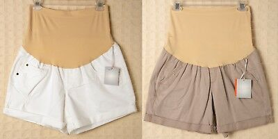 A:Glow MATERNITY Shorts White Beige Tan Distressed Belly Band Tummy Panel AGlow
