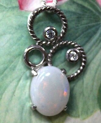 Crystal Opal Pendant With Solid Sterling Silver Stamped 925 Opal Size 10x8mm CZ