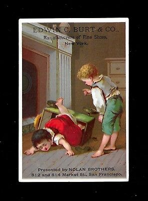 Mishap On Wagon Ride-1880s Victorian Trade Card
