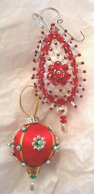 2 vintage beaded sequins pins handmade christmas ornaments - Handmade Angels Christmas Decorations