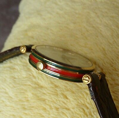 dd4653f5f52 Gucci 2000M 18KGP Men s Women s Stack Watch with Green Red Enamel Case  (NR234