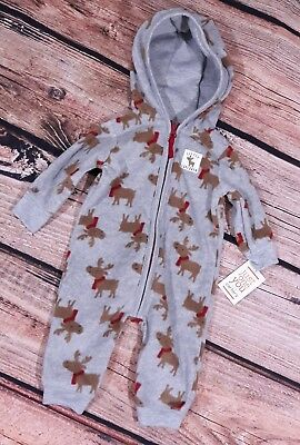 Carters Hooded One Piece Zip Jump Suit Reindeer Size 3 Month