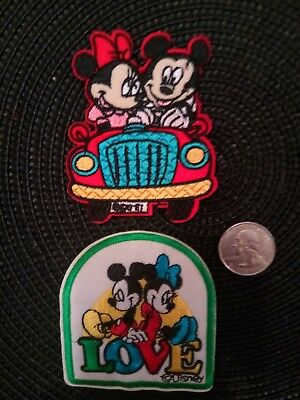"""(2) Mickey Mouse and Minnie IRON on patches patch lot 2.5"""" x 3"""""""