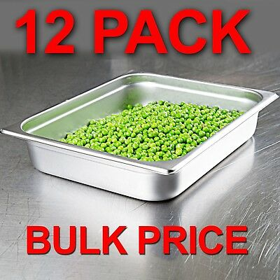 12 PACK Half Size Stainless Steel 2 1/2 Deep Steam Prep Table Pan Chafing Dish