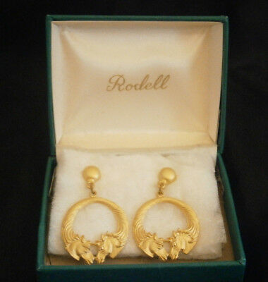 Rodell Horse Pierced Earrings Gold Plated Two Stallions Equestrian  Nib Us