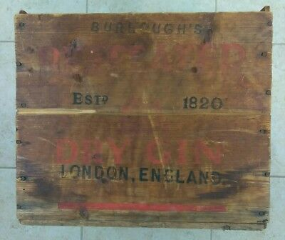 "Burroughs Beefeater Gin Wood Crate Case Box Vintage London England 14""x10.5""x12"""