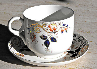 Antique WILEMAN POTTERY BREAKFAST CUP AND SAUCER SET Giant Teacup England 1800s