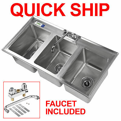 """37"""" Three Compartment 10 x 14 x 10 Bowl Faucet Stainless Steel Drop In Sink 3"""