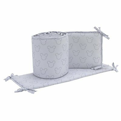 Disney Mickey  Mouse Icon 4 sided  Nursery Crib Bumper only , gray