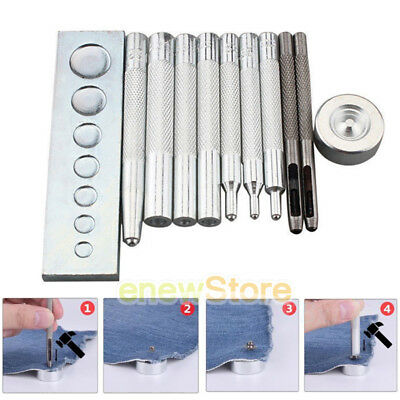 NEW 11 Die Set Punch Tool Snap Rivet Setter Base Kit For DIY Leather Craft Tools