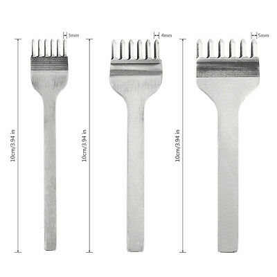 Leather Craft Tools Hole Chisel Graving Stitching Punch Tool Set 3,4,5,6MM
