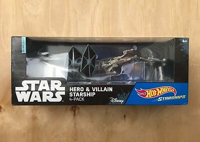 Disney Star Wars Die-Cast Hot Wheels Hero & Villain Starships 4-Pack