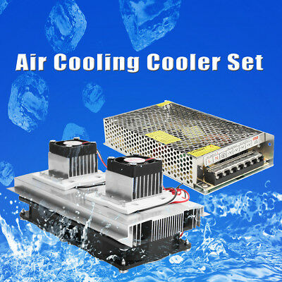 2 Core Refrigeration Thermoelectric Peltier Air Cooling Cooler+ Power Supply