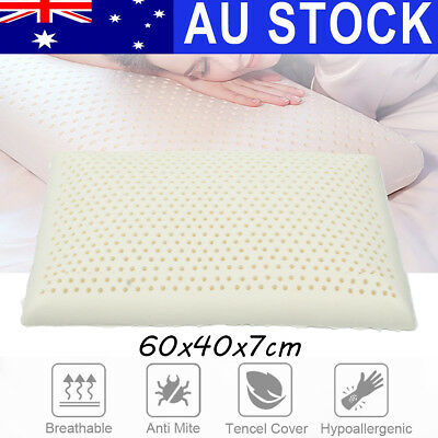 100% Natural Bedding Latex Feel Pillow Soft Comfort Bed Sleeping Contour Cover