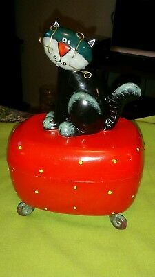 2004 Michelle Allen Red Cat Footed Trinket Box. Cool Cat.
