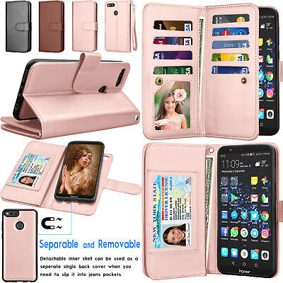 For Huawei Honor 7X/Mate SE Phone Wallet PU Leather Stand Strap Card Case Cover