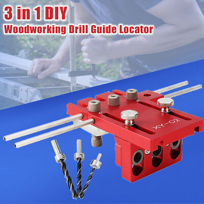 3in1 C1 DIY Woodworking Hole Drill Guide Locator Doweling Jig Joinery System Kit