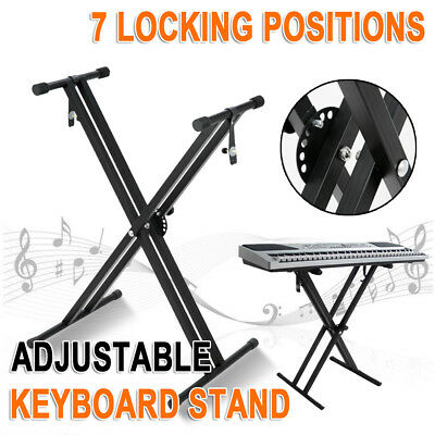 NEWAdjustable Music Double Braced Keyboard Stand X Frame Stool Steel Foldable AU