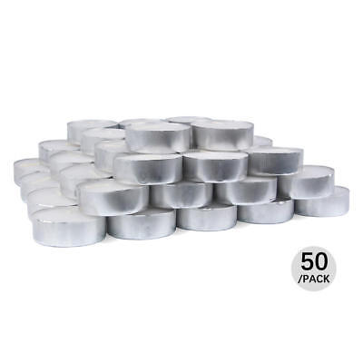LivingBasics® Pressed Tealight Candles White with Aluminium Cup 50Pcs