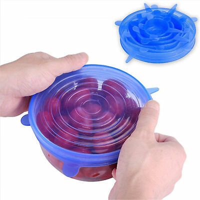 6PCS Reusable Silicone Stretch Lid Food Pan Bowl Covers Wrap Keep Food Fresh