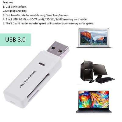 2 in 1 USB 3.0 Memory Card Reader SD SDHC SDXC Micro SD Micro SDXC UHS-I TF LED