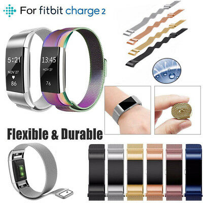For Fitbit Charge 2 Strap Replacement Magnet Milanese Loop Band Stainless Steel