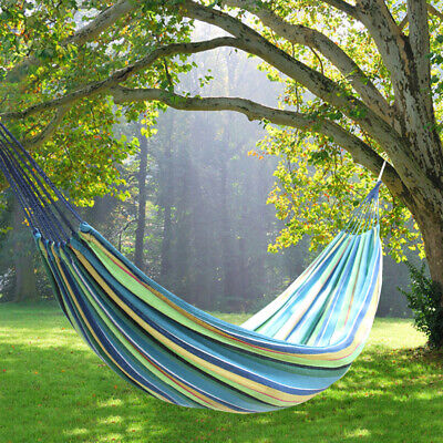 Portable Hammock Canvas Camping Bed Garden Back Yard Outdoor Travel Swinging