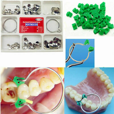 40Pcs Add-On Wedges & 100Pcs Dental Matrix Sectional Contoured Matrices No.1.398